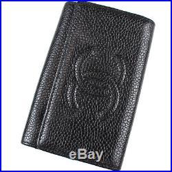 CHANEL CC Logos Key Case 6 Ring Black Caviar Skin Leather Vintage Auth #L988 M
