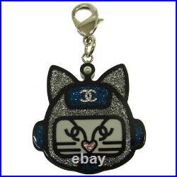 CHANEL CC Logos Key Holder Bag Charm Silver Black Accessories Authentic AK38122b