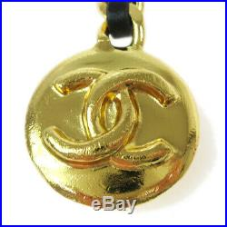 CHANEL CC Logos Medallion Gold Chain Key Holder Ring Bag Charm 96P AK34113e