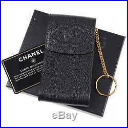 CHANEL CC Logos Multi Case Black Caviar Skin Leather Italy Vintage Auth #S813 M