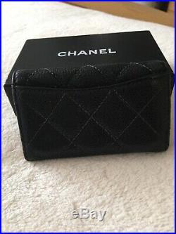 CHANEL CC Matelasse 6 Ring Key Case Holder Caviar Skin Black GHW