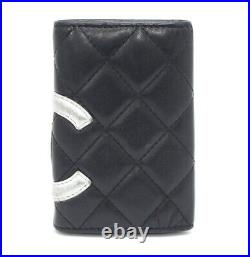 CHANEL Cambon Line Quilted Calf Leather 6 Hooks Key Case Black/Silver #53402