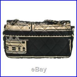 CHANEL Central Station Matelasse Double Chain Shoulder Bag Black CC Auth 13470