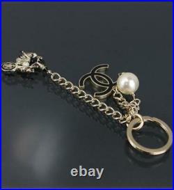 CHANEL Charm Key Ring CC Bike Motif Fake Pearl COCO 10P authentic