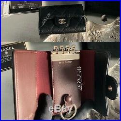 CHANEL Key Holder Black Caviar 4-ring Key Chain 5-ring 2019 Keychain Gold HW NEW