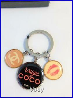CHANEL Key Ring Holder Chain Coco Charm Vip 2010 Gift Novelty withBox Silver #0232
