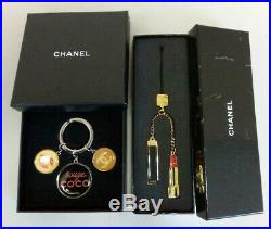 CHANEL Key Ring Holder Charm Chain Strap Novelty Authentic Coco mark Set of 2