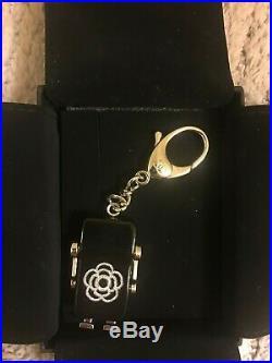 CHANEL Mark Black Robot Bag Charm Key Chain Resin Crystal Come with Box