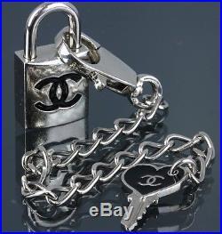 CHANEL Padlock Black CC Mark Silver-tone Cadena and Key Chain Lock Set 07P 42025