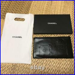 CHANEL Pouch Black Parfum Bottle No. 5 Novelty Authentic Watch Wallet Ring logo