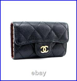 CHANEL Quilted Caviar Skin Leather 6 Hooks Key Case Black/Gold #53366