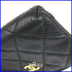 CHANEL Quilted Caviar Skin Leather Zipper Coin Purse with Key Chain Black #43342