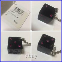 CHRISTIAN DIOR Black Dice Bag Charm Key Ring Keychain New Unused