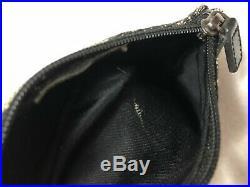 CHRISTIAN DIOR Saddle Coin Purse Keychain Mini Pouch Black Gray Monogram