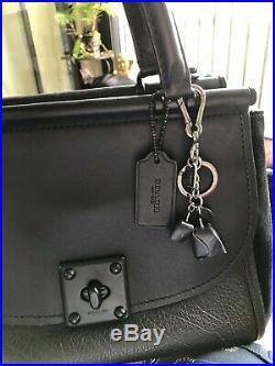 COACH 38389 Drifter Carryall Black Leather Women's Handbag & Keychain Charm