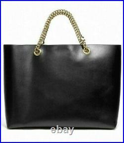 COACH Black Refined Calf Leather Signature Chain Central Tote Shoulder Bag 78218