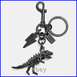 COACH Black Rexy T-Rex Dinosaur and Lightning Bolt Key Ring Bag Charm 54100 NWT