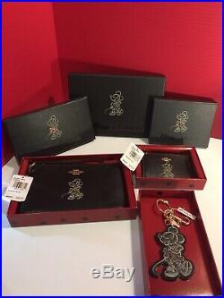COACH DISNEY Minnie Mouse Wristlet & Minni ID Zip & Bag Charm Keychain NIB/NWT