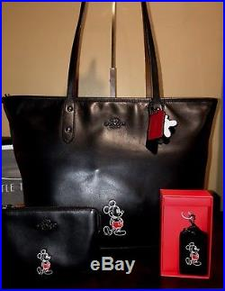 COACH Disney X Mickey City Limited Edition Black Leather Tote wristlet keychain