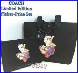 COACH Doodle Duck Fisher Price Ltd Black Tote Bag Pouch & Keychain Charm Set NWT