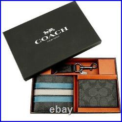 COACH F37944 Mens Varsity Stripe Wallet & Key Chain Black/Blue Mineral Gift Box
