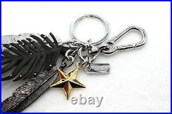 COACH Feather Gold Star Keychain Bag Charm Black Faux Leather Studs NEW