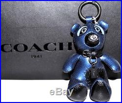 COACH Keychain Ace Bear Raccoon Handbag Charm Metallic Blue Black Leather NWT