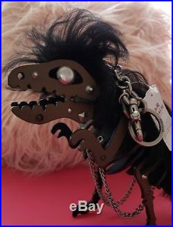 COACH Punk Mohawk X-Large Black T-Rex Rexy Dinosaur Leather Keychain Bag Charm