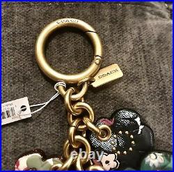 COACH Tea Rose Leather Keychain Bag Charm FLORAL PRINT NWT