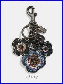 COACH Tea Rose Leather Sequin Keychain Bag Charm BLACK NWT