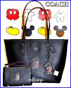 COACH X DISNEY LTD MICKEY MOUSE Black Leather Tote Bag, Wristlet & Keychain NWT