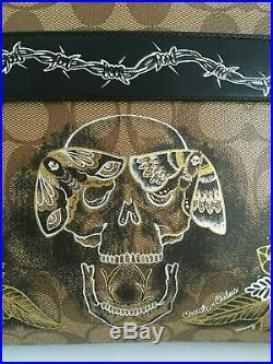 COACH (f76957) Chelsea Champlain Tattoo Lg Wristlet/Pouch & Ram Key Chain NWT