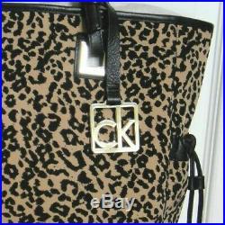 Calvin Klein Summer Wear Shoulder Hand Bag Handbag Animal Prnt Tote withKey Chain