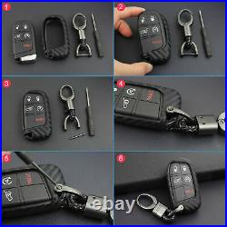Carbon Fiber Key Fob Chain For Jeep Dodge Chrysler Accessories Cover Case Ring