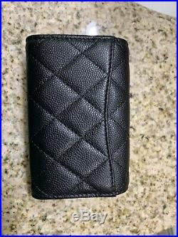 Chanel 19B Black Caviar Classic4 Key Holder O-Key with Burgundy Lining LGHW