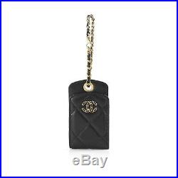 Chanel 2019 Black Quilted Leather Chain CC Logo Luggage Tag Key Chain Gold HW