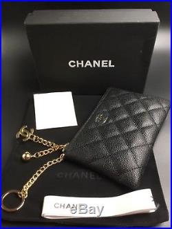 Chanel BLACK O-Key Card Holder/ Keychain Caviar new