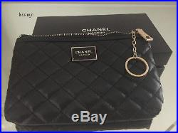 Chanel Beauty VIP Gift Black Quilted Coin/ Makeup Pouch/Bag with Keychain