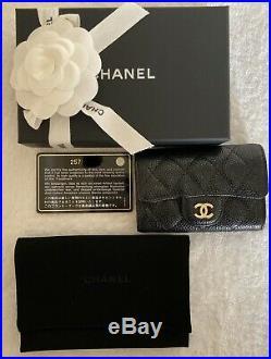 Chanel Black Caviar Classic 4 Key Holder O-Key with Burgundy Lining LGHW