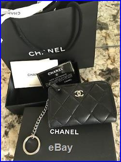 808b99fc8f03 Chanel Black Lambskin Leather Coin Purse Wallet Keychain Bag 2017 W Receipt
