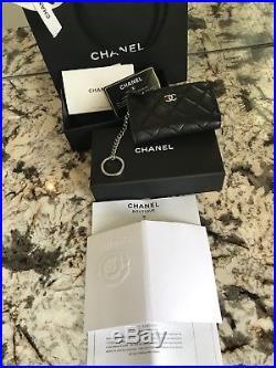 Chanel Black Lambskin Leather Coin Purse Wallet Keychain Bag 2017 W Receipt