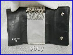 Chanel Camellia Key Case Black Lambskin Italy Authentic #4376P