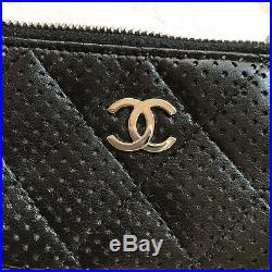 Chanel Card Case/Key Chain Black Perforated