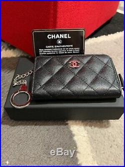 Chanel Caviar Black Key Holder Silver Hardware