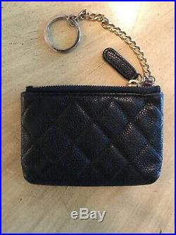Chanel Caviar Black Keychain Wallet Box 100% Authentic