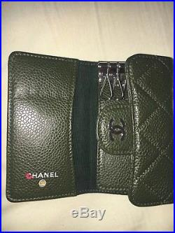 Chanel Caviar Quilted 6 Key Holder Case Green Never Used Authentic