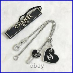 Chanel CoCo Mark CC Logo Silver Chain Heart Key Charm Bracelet Silver Black F/S