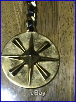 Chanel Coco Mark Pattern Circle Motif Vintage Key Holder Gold / Black Leather