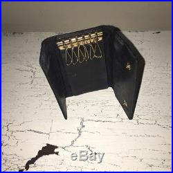 Chanel Keychain caviar leather key card holder cles Black Gold small wallet vtg
