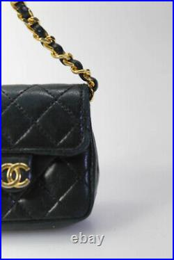 Chanel Vintage Micro Belt Quilted Chain-Link Bag Keychain